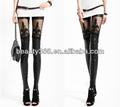 Moda feminina Stretchy Punk imitação Leggings laço de couro Calças pretas