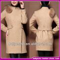 caliente la venta de las mujeres de color caqui con estilo cuello de piel de lana para abrigos de invierno