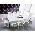 branco tampo de vidro e metal mesa de jantar quadro
