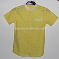 2014 chidrens moda camisa de manga curta, boys camisa de algodão com gola contraste