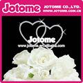 Doble corazón de diamante deimitación adorno de torta, monograma torta de la boda decoración