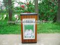 superior- opeing madeira maciça com aço publicidade quadro caixa de lixo/lixo caixa de luz solar