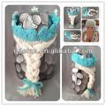 Feito à mão crochet congelados elsa coroa da princesa/crochet baby tiaras com peruca de cabelo