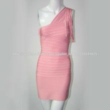 diseño único de un hombro borla de color rosa sexy ladies grasa vestidos de las mujeres