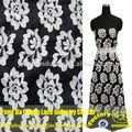 proveedor de china de fábrica de alta calidad precio del bordado pesado con cable negro de tela de encaje