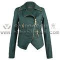 China la venta dama de la moda a su vez- edredones cuello kurtki damskie del remache con modelo de chaqueta para las mujeres