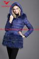 ファッションの毛皮のダウンコートの女性hemed深い青/oem
