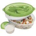 ventas al por mayor de plástico caja de almuerzo para ensalada con un tenedor cuchara y la tapa del congelador