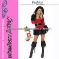 ML8009 Sexy Velvet con capucha de Santa Ayudante de la Navidad del vestido de lujo adulto