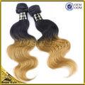 5a buena calidad sin procesar virgen de color de dos tonos tejido de pelo negro para las mujeres