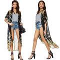 nueva europa ropa de abrigo de gasa de impresión floral abierto frente a corto de manga larga y suelta prendas g0704b
