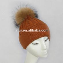 perro mapache piel de pompones de punto sombrero de los animales sin tejer sombrero de patrones