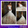 sirena largo tren vestido de boda vestido en capas de organza con cariño botón atrás falda( ab0111)