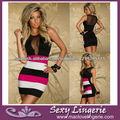 2014 nuevas mujeres Vestido ajustado de color rayas del mini vestido Sexy