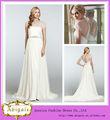 Venta caliente Blanca una línea de manga corta Listones barrido elegante de la boda modesta vestido / vestido de gasa (QU0667)