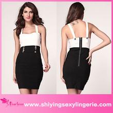 venta al por mayor nuevo negro blanco para mujer urbana de rayas hombro vestido patinador