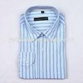 mejor venta formal de manga larga de la luz azul de raya hombre camisas de vestir