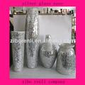 nuevo arte de cristal grande de mosaico de época piso de plata jarrones altos