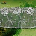 blanco de alta calidad de organza de algodón bordado de encaje
