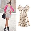 2014 las mujeres de primavera verano de nuevo de moda animal print mini vintage vestido, plus tamaño s- xxxl 0019
