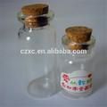 venta al por mayor de altura 10ml botella de vidrio con tapón de corcho