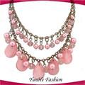 estilo étnico de la perla de doble capa de largo collar de exhibiciones de la joyería