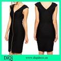 las mujeres simple negro cremallera frontal completa ponti dropship vestidos sexy carreer equipados vestidos