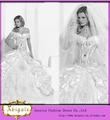 2014 vestido de baile branco da luva do tampão Lace Voltar Ver Através Corpete Appliqued Vestido de casamento Fotos de exemplo