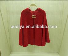 las mujeres poncho outwear chaqueta de punto mohair abrigo capa suéter suéter plus de color rojo