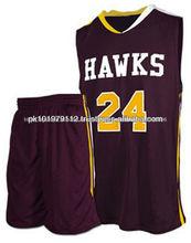La mitad de cancha unisex reversibles uniformes de baloncesto/hecho para uniformes del baloncesto personalizado