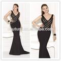 col v manches sexy noir perlé balayage train 2015 tarik ediz 92471 turque robes de soirée pour les femmes