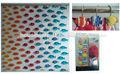 diseño de peces peva cortina de ducha de resina con ganchos