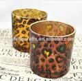 láser moda leopardo de impresión de la imagen candelabro de vidrio al por mayor