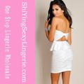 atacado nova strapless sexy marfim branco texturizado vestido peplum fotos de mulheres de camisola