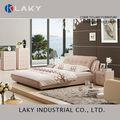 Lk-lb114 más nuevo diseño de color rosa dormitorio cama de cuero con mesitas de noche