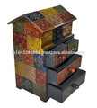 india decoración para el hogar hechos a mano antiguo pintado de cabaña de madera caja con cuatro cajones