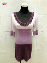 Caliente! De las señoras de punto de moda vestido de suéter de manga larga de cuello redondo de primavera y otoño suéter