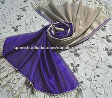 Bufandas largas de seda de color reversible