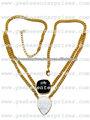 24kt. Banhados a ouro colar de corrente com ônix preto e branco gemstone druzy moldura conectores pendentes