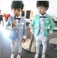 2014 nuevo diseño de estilo coreano 2-7 caballero años pantalón coat+white 2 niños pc trajes esmoquin