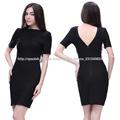 diseño corto elegante apretado vestido de noche musulmán negro de alta costura