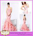 Venta caliente de longitud de la colina con cuentas sirena vestido de novia de encaje Rosa Sherri 2013 (LD1000)