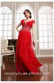 2014 talones de gasa rojo elegante largos vestidos de noche con mangas