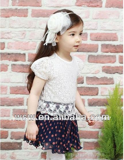 2014 hot vender roupa do miúdo verão vestidos rosa/onda azul ponto atacado roupa infantil vestido vestido comunhao