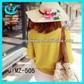 Venta al por mayor de flores de paja sombreros figura boater& chica barata sombrero de verano