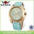 Correa de cuero para relojes pulsera de diversos colores caja de aleación dorada