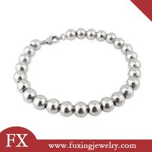 diseño de moda al por mayor de acero inoxidable de plata pulsera de cuentas