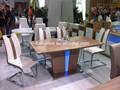 baratos moderno mdf de alto brillo mesa de comedor extensible diseño