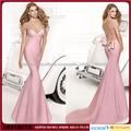 Elegante piso larga duración sirena mancha rosada personalizados perlas hechas primicia vestido de noche 2015