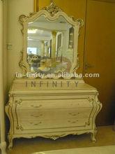 antigüedad muebles de madera de dormitorio el tocador con mesa